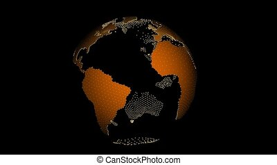 Clear Globe with Orange Continents