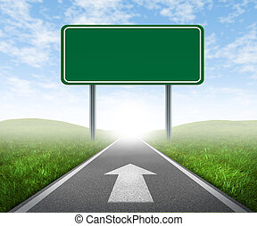 Clear goals on an open straight road highway sign with green...