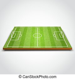 Clear green football or soccer field. Vector illustration