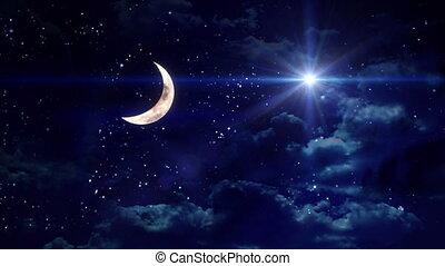 clear half moon wide star