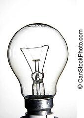 Clear lightbulb on white background