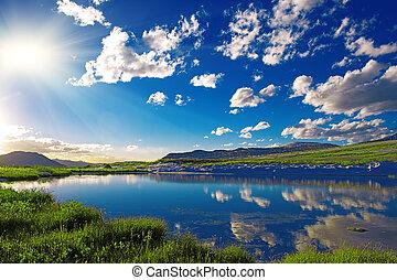 mountain lake - Clear mountain lake in Colorado mountains,...