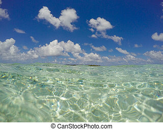 clear ocean water surface and blue sky - turquoise, blue
