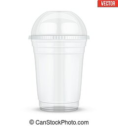 Clear plastic cup with sphere dome cap. For milkshake and...