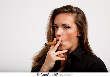 clear portrait of a cigar smoking lady