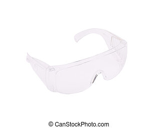 Clear protective glasses. Isolated on a white background.