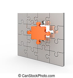 Clear puzzle. White isolated 3d render