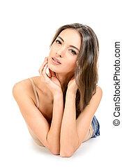 clear skin - Beautiful sensual woman touching her face. ...