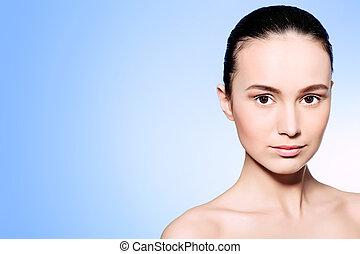 clear skin - Portrait of beautiful spa girl. Beauty,...