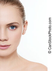 Portrait of young beautiful girl with clean make-up
