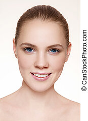 Clear skin - Portrait of young beautiful healthy happy...