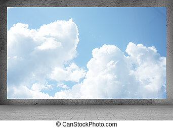 Clear sky - Background image of banner with white clouds and...
