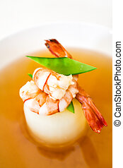 Clear Soup with Bean Curd and shrimps