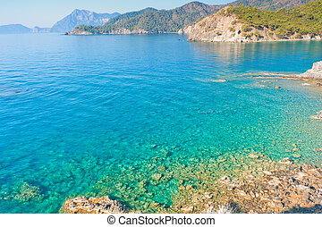 clear turquoise water and rocky shore