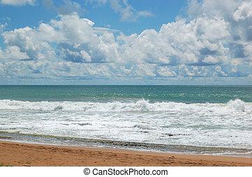 Clear turquoise water of Indian Ocean, Bentota,  Sri Lanka