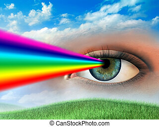Clear vision - Rainbow coming out of a woman\'s eye. Digital...