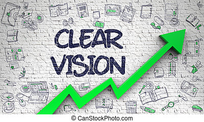 Clear Vision Drawn on White Brickwall. 3D. - White Wall with...