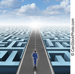 Clear vision leadership solutions and success concept as a businessman thinking outside the box and building a road bridge over a complicated maze cutting through the confusion and succeeding in business and life.