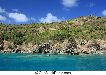 Clear torquoise water and tropical caribbean island