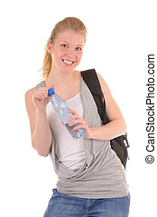 Clear water for drinking - Nice smiling girl in casual style...