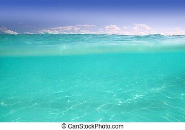 waterline caribbean sea underwater and blue sea - clear...