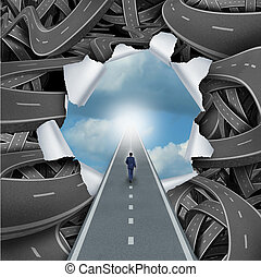 Clear Way - Clear way business and life success concept as a...
