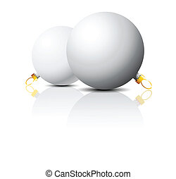 Clear white Christmas bulbs on a white background