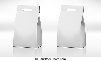 Clear White Craft Paper Bag Pack With Handle. EPS10 Vector