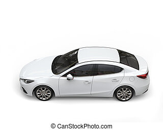 Clear white modern fast business car - top down view