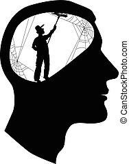 Clear your mind - Male profile with a silhouette of a...