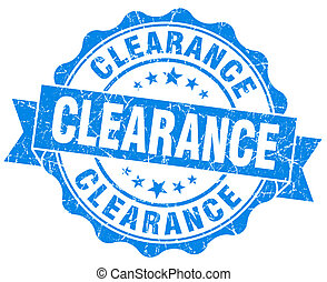 Clearance blue vintage seal isolated on white