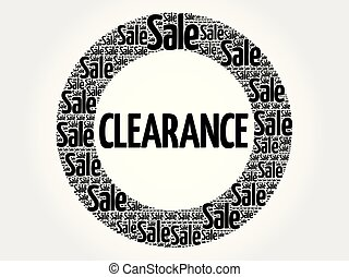 Clearance circle stamp word cloud, business concept