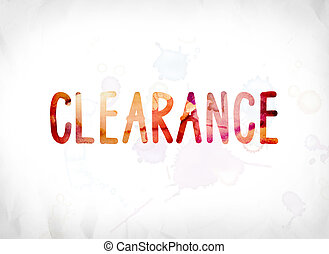 Clearance Concept Painted Watercolor Word Art
