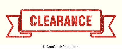 clearance grunge ribbon. clearance sign. clearance banner