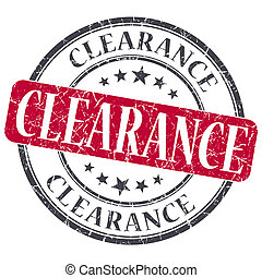 Clearance red grunge round stamp on white background