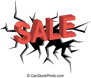clearance sale - crack on a white background and red letters...