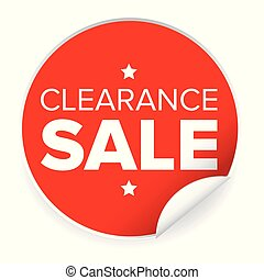 Clearance sale label red sticker vector