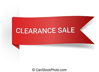 Clearance Sale Realistic Detailed Curved Paper Banner. Ribbons With Space For Text. Isolated On White Background. Vector Illustration. Design Elements.