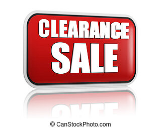 clearance sale button - 3d red banner with white text, business concept