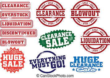 Clearance and blowout liquidation sale stamps.
