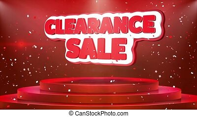 Clearance Sale Text Animation Stage Podium Confetti Loop Animation