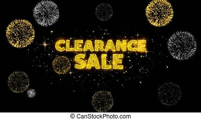 Clearance Sale Text Reveal on Glitter Golden Particles Firework. Sale, Discount Price, Off Deals, Offer promotion offer percent discount ads 4K Loop Animation.