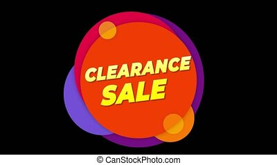 Clearance Sale Text Sticker Colorful Sale Popup Animation.
