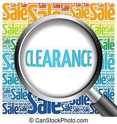 Clearance sale word cloud with magnifying glass, business...