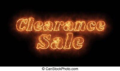 Clearance Sale Word Hot Animated Burning Realistic Fire...