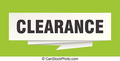 clearance sign. clearance paper origami speech bubble....