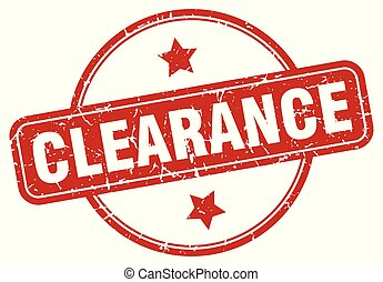 clearance sign - clearance vintage round isolated stamp