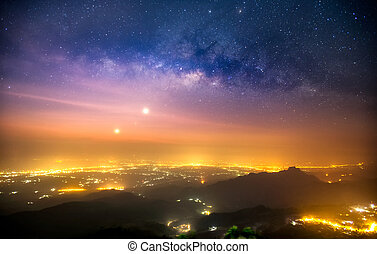 Clearly milky way over the mountain, Thailand