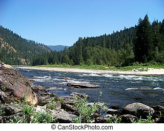 Clearwater River flows through the Nez Perce National Forest...
