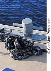 cleat and rope on dock
